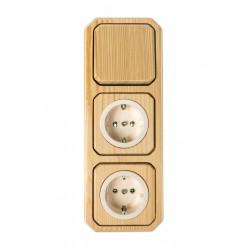 3-fach Kombination - 1 x Aus-Wechselschalter - 2 x Steckdose